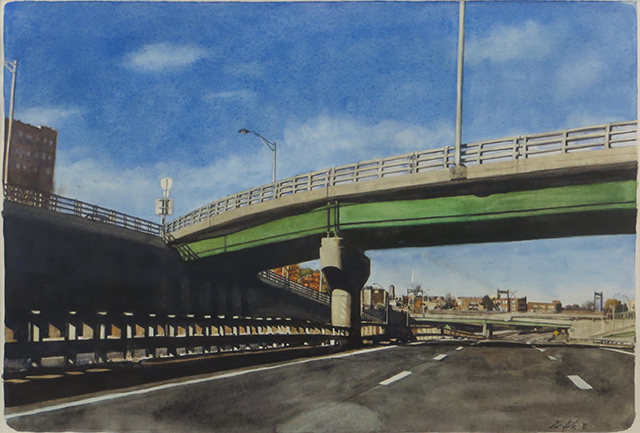 """Parkway and 280""  – Watercolor on paper – 