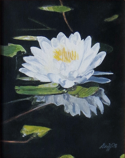 """Water Lily""  – by William A. Griffith – Acrylic on canvas – 