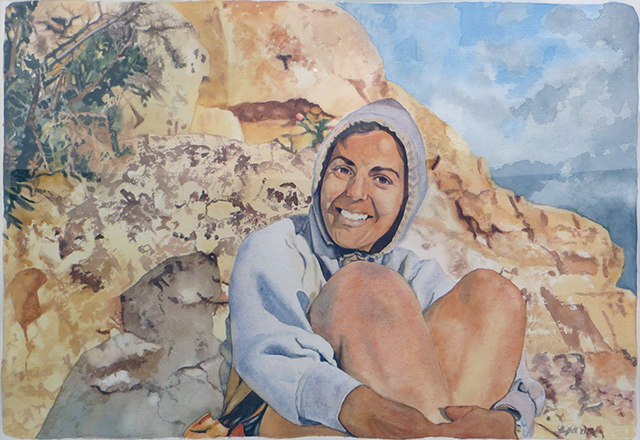"""Marilyn at the Grand Canyon"" Watercolor on paper –  NFS"
