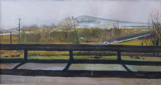 """Study of the Pulaski Skyway""  – Acrylic on paper –  19 1/2"" w x 12 1/2"" H $250.00"