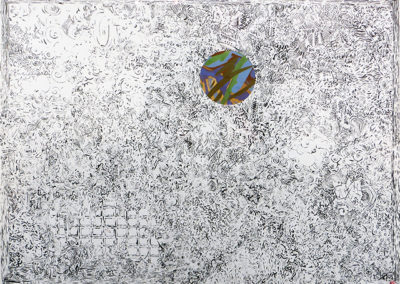 "Peter Arakawa ""After the Big Bang""  ink and collage on paper"
