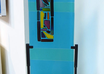 "Ellen Rebarber    ""Asian Influence""  Fused transparent glass with dichroic glass"