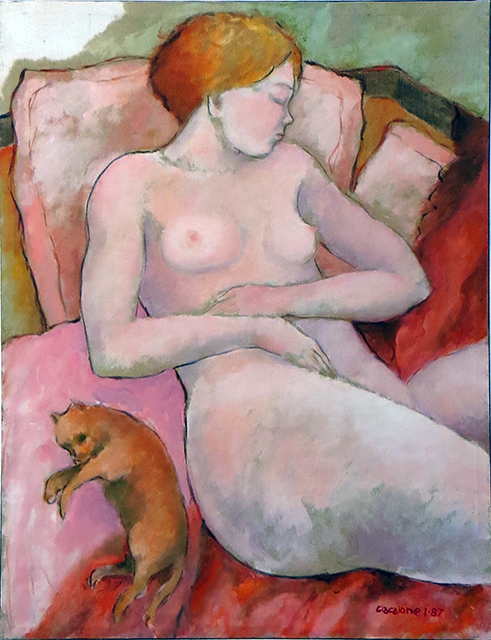 "Bill Giacalone  ""Cat Nap""  Oil on canvas"
