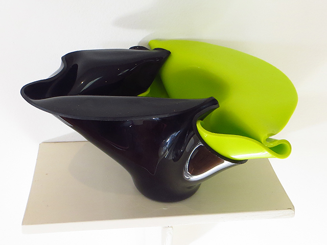 "Ellen Rebarber  ""Draped Vessel"" Slumped glass in green and black"