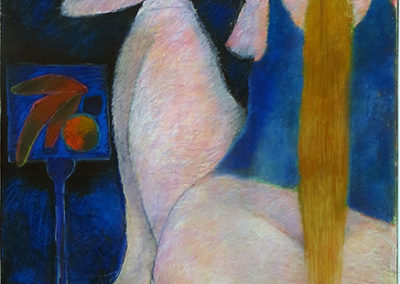 "Bill Giacalone   ""Fruit on Stand""  Pastel on board"