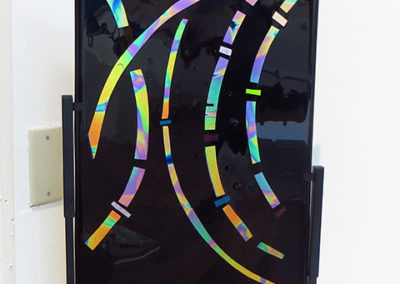 "Ellen Rebarber  ""Graceful Rhythm"" Fused glass with dichroic on black"