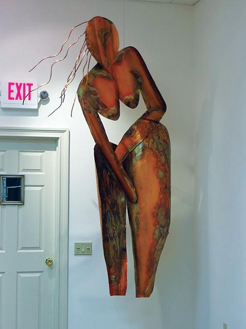 """Ellen Rebarber   """"I Am Woman"""" Copper sculpture"""