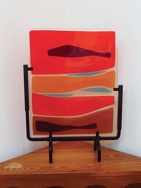 "Ellen Rebarber   ""Landscape""  Fused glass/and transparent red and orange"
