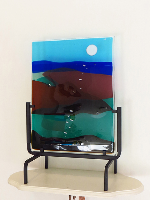 """Ellen Rebarber """"Moon over Maine""""  Fused glass in blues and greens"""