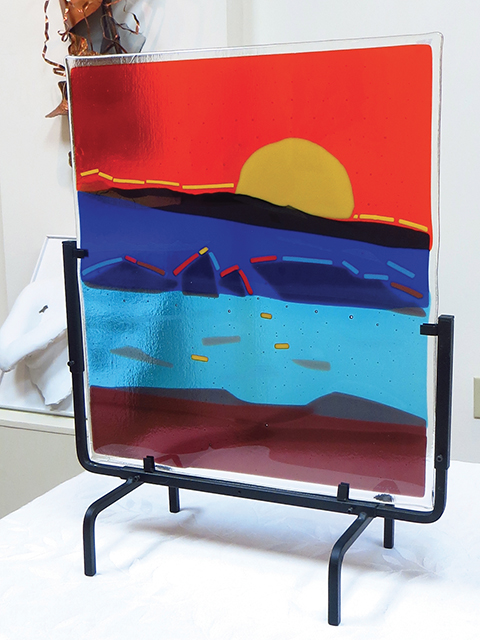 "Ellen Rebarber   ""Sunrise ""  Fused glass in many colors"