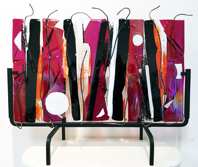 """Illuminating Inspiration""   fused glass and copper wire,  by Ellen Rebarber – $465.00"