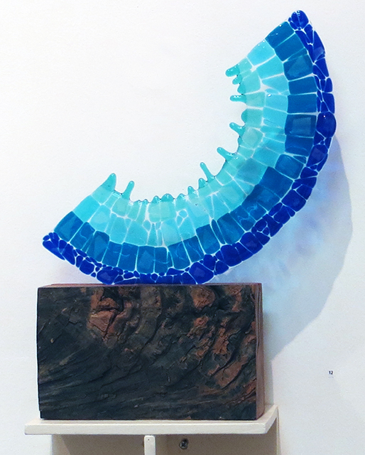 """Blues in the Night""   fused glass and wood, by Ellen Rebarber"