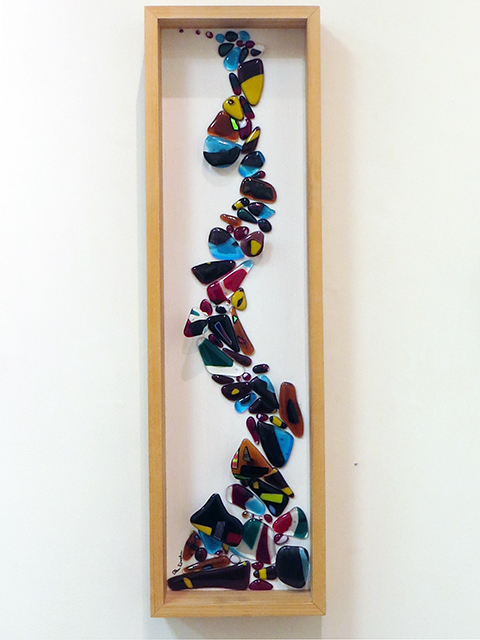 """""""River of Wonder""""   fused glass in wood frame, by Ellen Rebarber"""