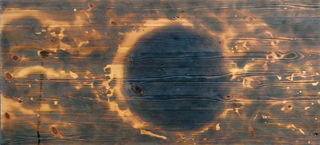 "Brian McCormack ""Lunar Eclipse-1"" Pyro drawing on found furniture panel $300.00"