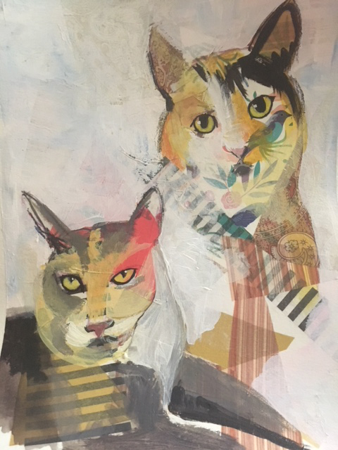 "Lesa Mellman ""Lulu and Thelma"" mixed media on paper $150.00"