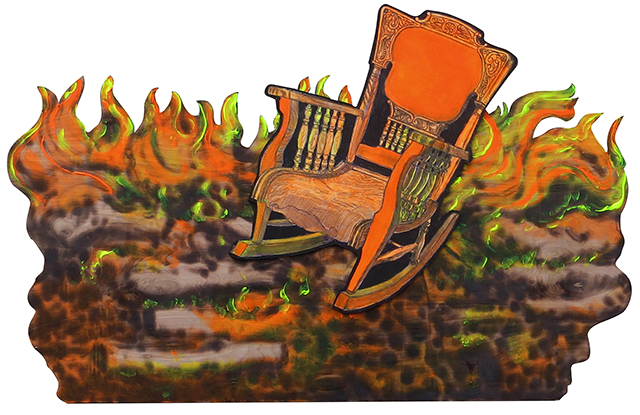 """Brian McCormack """"Saved"""" pyro drawing and etching and paint on shaped wood $600.00"""