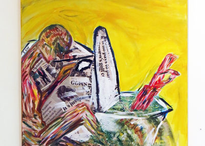 "Edwin Cholula, E.Cho ""Flood The Swamp"" mixed media, paint, newspaper on canvas"