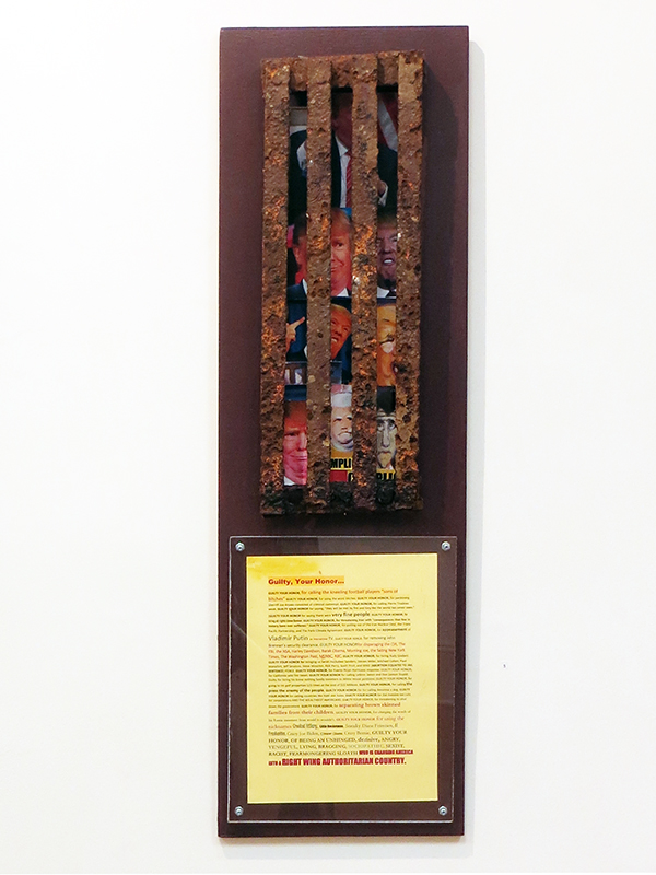 "Fred Cole   ""Guilty Your Honor""  mixed media wall sculpture"