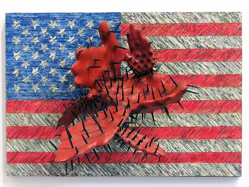 "George Lorio ""Deal Maker"" shredded US currency, paint, carved wood, nails, on panel  $3,200.00"