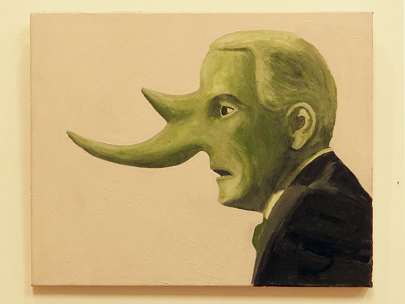 "Larry McKim  ""Jeff Sessions""  acrylic on canvas"