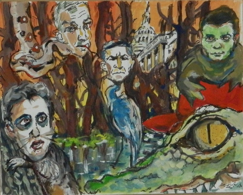 "Steven Epstein ""Swamp Denizens"" gouache, pencil and marker on paper"