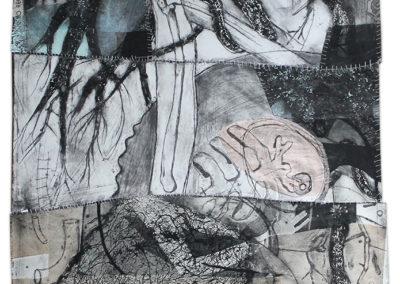 """Dominique Vitali """"Untitled Roots"""" intaglio, chine colle, embroidery"""