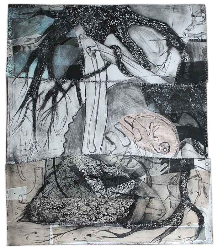 "Dominique Vitali ""Untitled Roots"" intaglio, chine colle, embroidery"