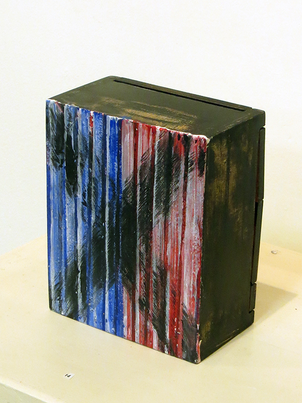 "Pat Badt ""Election 2016""  acrylic on paper mounted on wooden box"