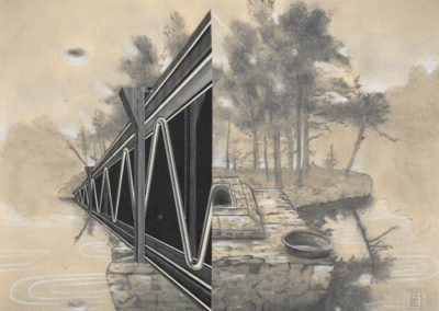 "Curt Harbits  ""The Waters Comforting Black"" graphite, charcoal, cut paper collage"