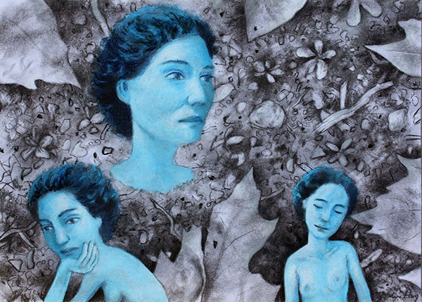 "Wayne Hoey ""Blue Lady"" charcoal and pastel on paper"