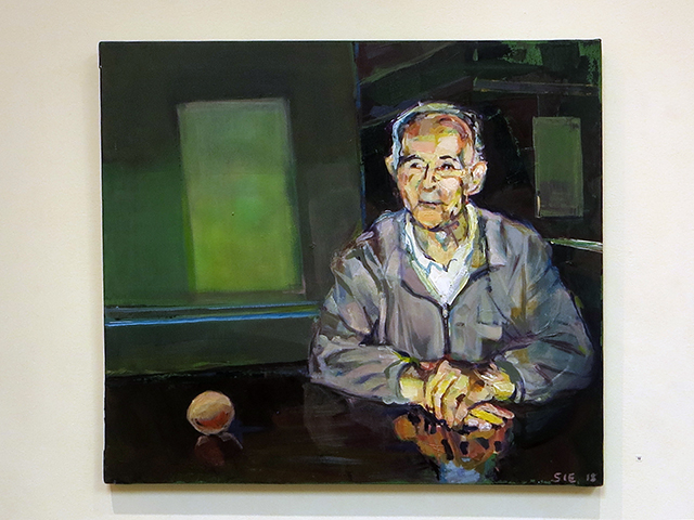 "Steven Epstein ""The old man and the egg"" acrylic on canvas"