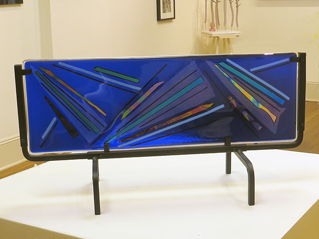 "Ellen Rebarber ""Light Up The Blues"" fused glass on metal frame"