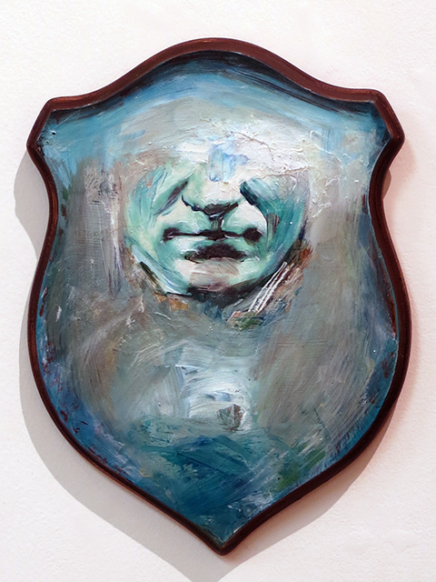 "Kristen Woodward  ""Trophy in Blue"" mixed media on wooden antler plaque"