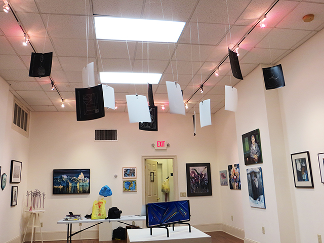 "Patricia A. Bender ""The Rhythm of Geometry"" hanging installation of photogram artists proofs"
