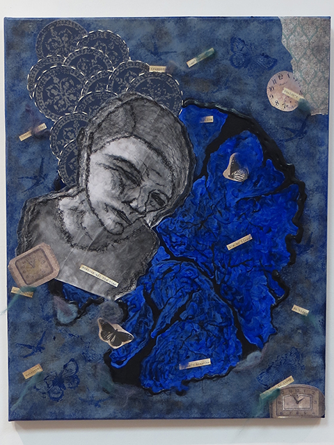 "Christy O'Connor ""Sleepless Nights"" mixed media, painting"