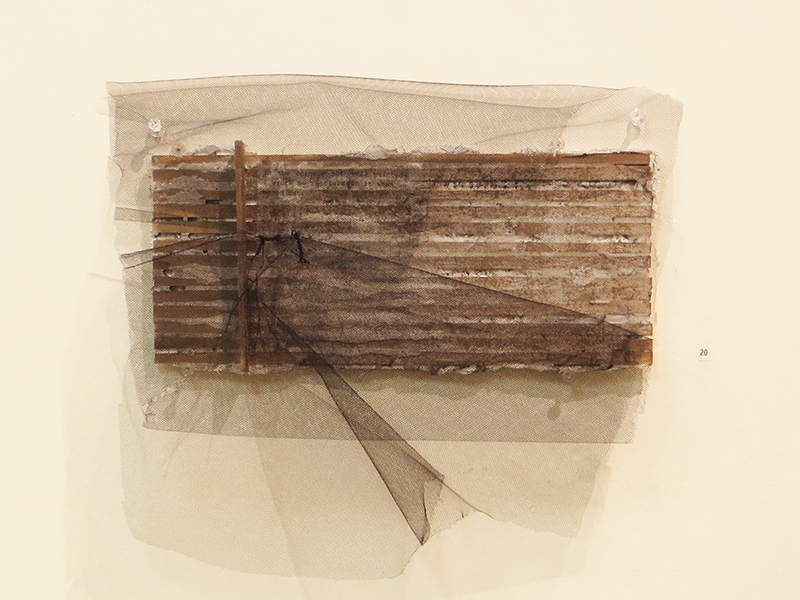 """1 Charcoal Ave.""  acrylic, fabric, thread, and plaster on wood, 8"" x 12""$240.00"