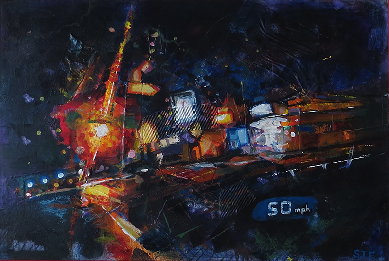 """Drive By at 50 MPH""   mixed media, acrylic, collage and crayon,  24″ x 36″ $300.00"