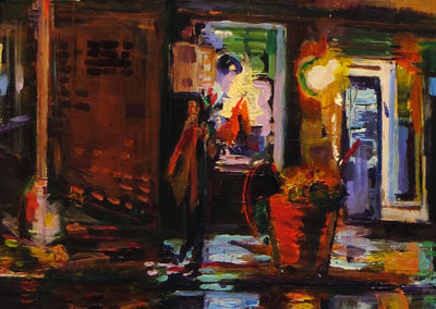 """On the Corner"" acrylic on hardboard, 24″ x 18″ $215.00"