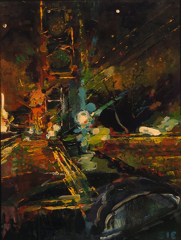 """""""Roadside Abstraction""""  mixed media, acrylic collage, crayon SOLD"""