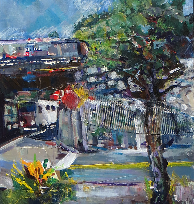 """Underpass""   mixed media, acrylic, collage and crayon SOLD"
