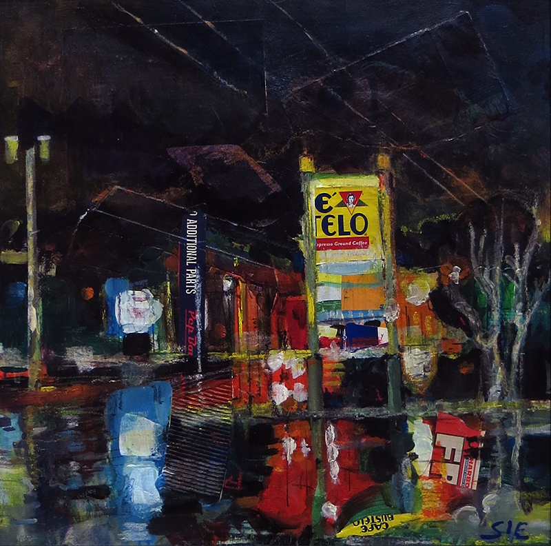 """Wet Night On 27"" mixed media, acrylic and crayon SOLD"