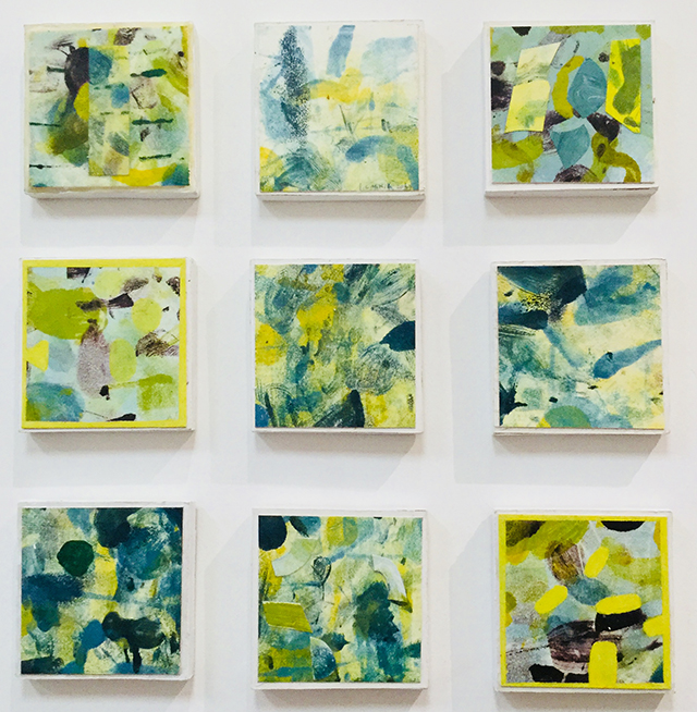 """Abstract Collages # 9 – I "" multiple mixed media works on 5″ x 5″ panels, $300.00"