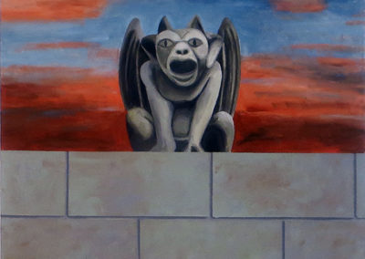 """Gargoyle on the Wall"" acrylic on canvas, 34"" H x 34"" W, $1,100.00"