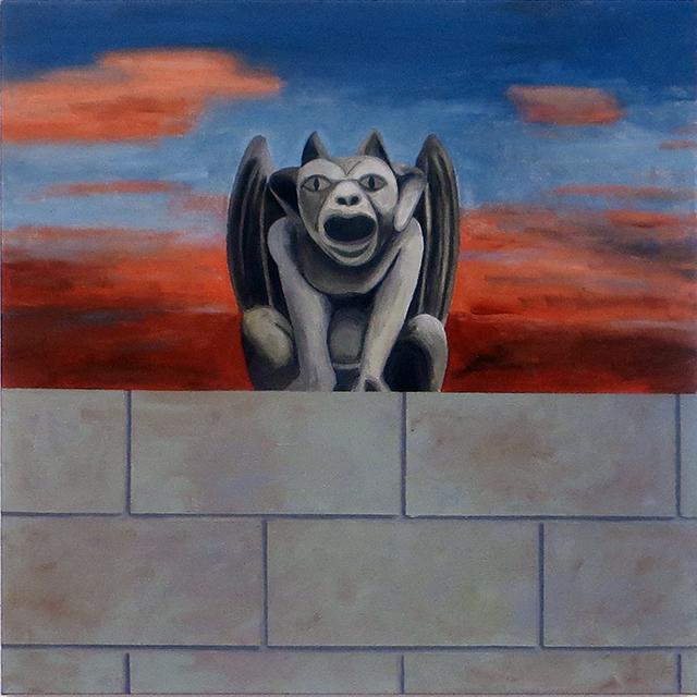 """""""Gargoyle on the Wall"""" acrylic on canvas, 34"""" H x 34"""" W, $1,100.00"""