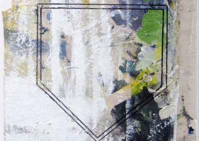 """Home Plate""  mixed media abstract collage 12"" x 12"", $150.00"