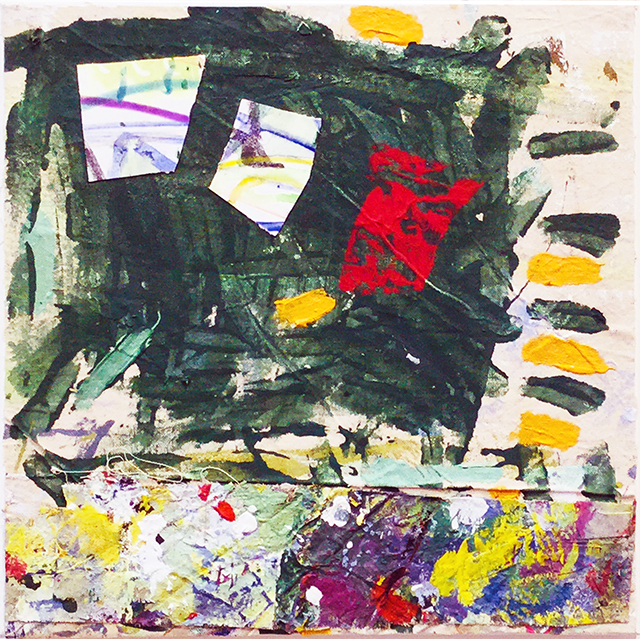 """Insidious Intent"" mixed media abstract collage 12"" x 12"", $150.00"