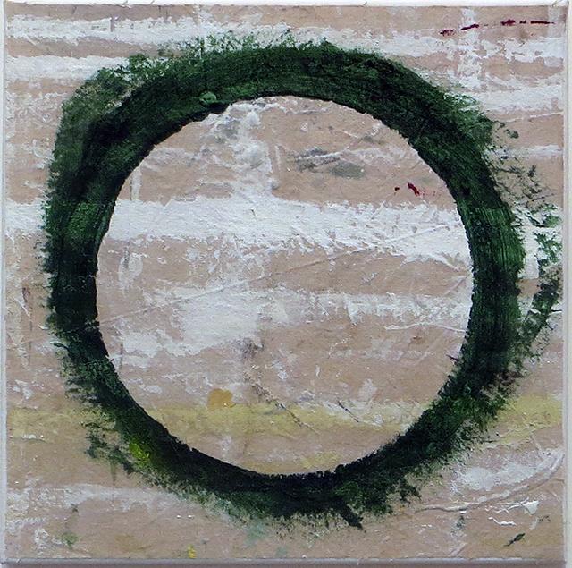 """Misunderstanding"" (paint can ring) acrylic on canvas,  12"" x 12"", $150.00"