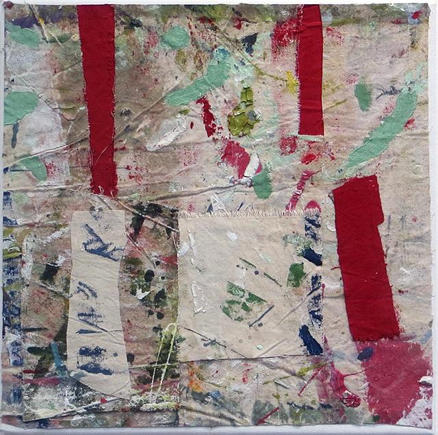 """""""Open Door""""  mixed media abstract collage 12"""" x 12"""", $150.00"""