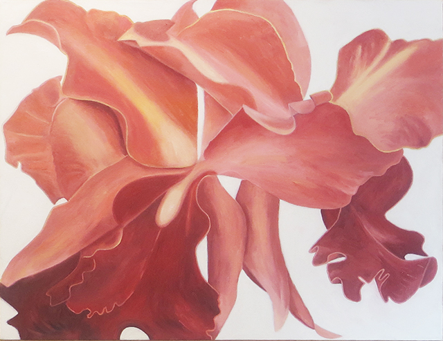 """Orchid # 2"" oil on canvas,  32"" H x 42"" W, $2,000.00"