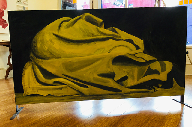 """Sleeping On The Streets #Sleeping10"" acrylic on canvas, 28""H x 54"" W, $2,000.00"